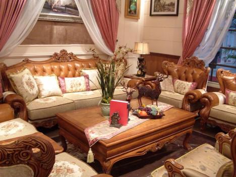 皮布实木沙发搭配图片