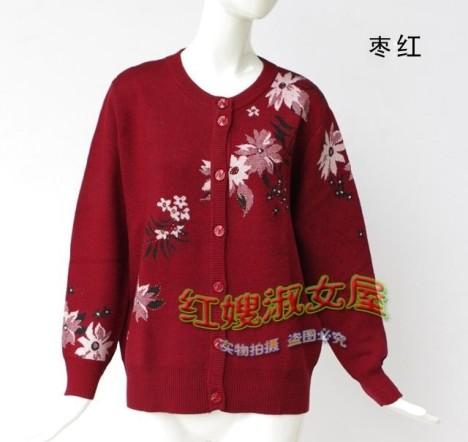 中老年毛衣开衫 加肥加大低圆领外套长袖提花开襟