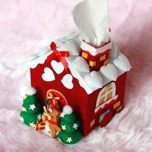 迪鸥 新年小屋纸抽盒 不织布diy手工布艺纸巾盒套材料