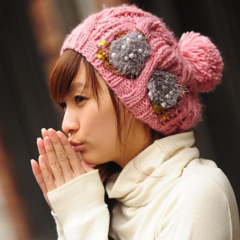 毛线帽子编织韩国搭配图片