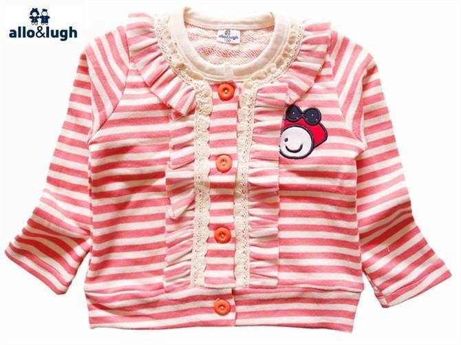 2012春款女童肉粉色条纹花边领开衫卫衣