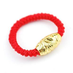 925纯银镀金转运珠戒指/情侣红绳手编转运珠