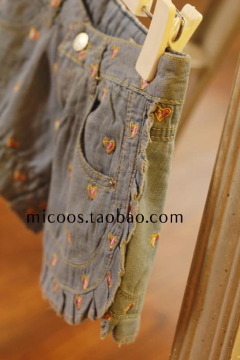 外单刺绣花边短裤牛仔裤