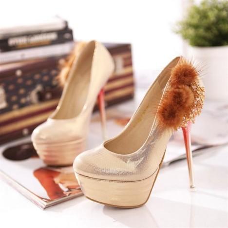 晶貂毛金属质感防水台超高跟婚鞋单鞋图片