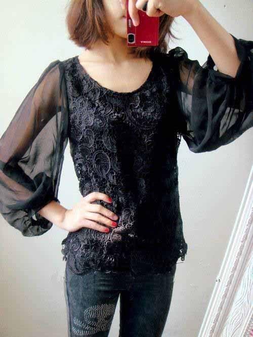 黑色蕾雪纺衫搭配图片