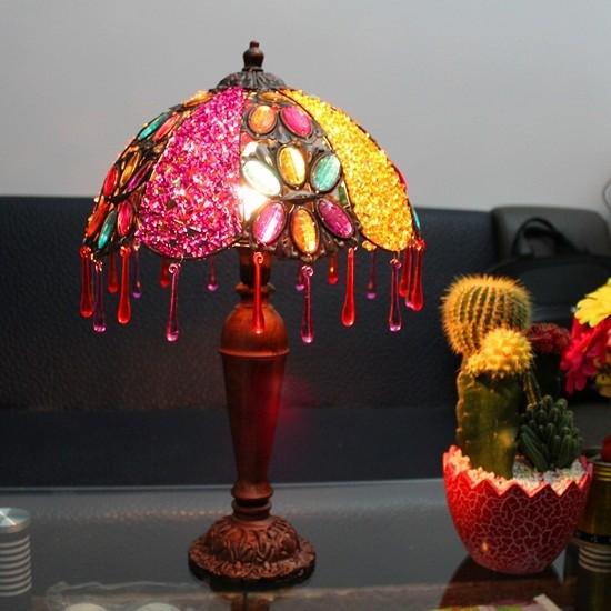 锦绣灯饰 欧式田园串珠床头灯卧室梳妆台灯具 婚庆台灯红红灯