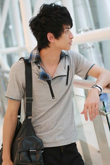 2012夏季爆款男装 时尚格子领百变气质韩版短袖男士t恤衫