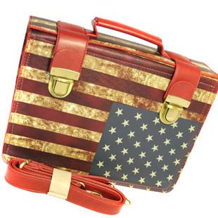做旧美国星条国旗邮差包