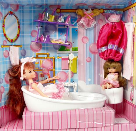 正品乐吉儿 芭比娃娃洗澡玩具 梦幻迷你浴室 配浴缸 娃娃 H22C图片