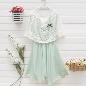 绿色花边沙滩裙搭配图片