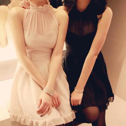 名媛淑女木耳花边小礼服连衣裙