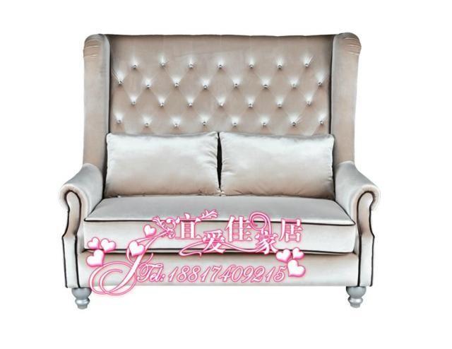 双人沙发/高背沙发椅/影楼酒店卡座/水晶扣简欧式