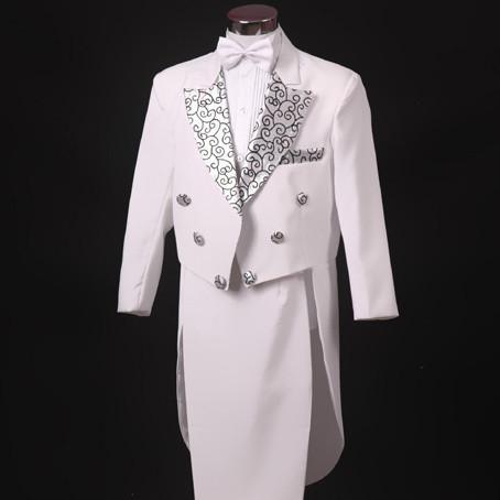 男孩小西服男童花童西装礼服4件套白色花边燕尾服