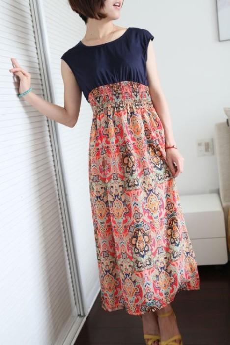 欧式复古印花长裙