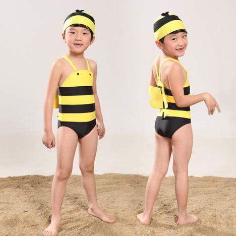 幼儿游泳衣 女孩男孩小蜜蜂连体泳装送泳帽