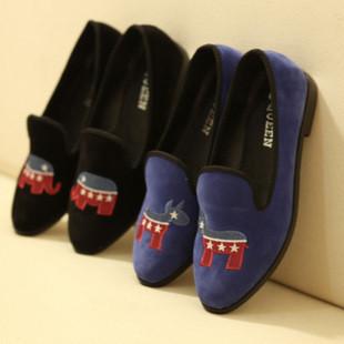 款新女百搭简洁刺绣复古单鞋