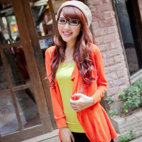 橙色针织衫开衫搭配图片_橙色针织衫开衫如何搭配_衫