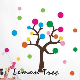 幼儿园教室墙面装饰组合贴画贴图*七彩圆圈大树