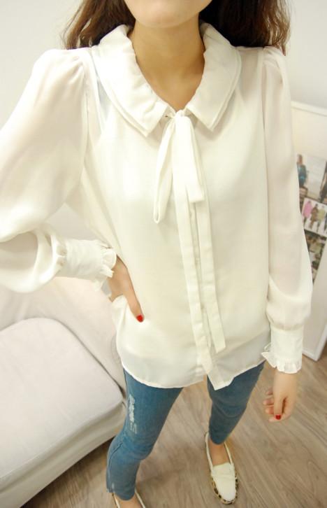 双层领系结甜美花边袖口雪纺衬衫