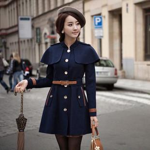 装呢子大衣藏青色甜美毛呢大衣修身外套