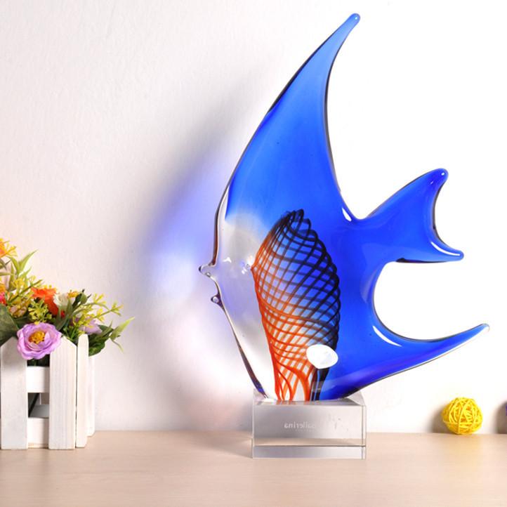 欧式个性蓝色鱼琉璃摆件饰品办公室摆设创意礼品摆件居家日用