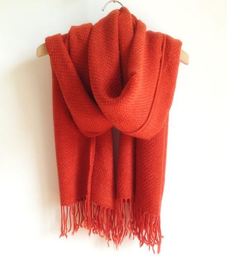 韩国进口 油画色编织流苏款全羊绒大围巾