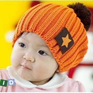 男女儿童五角星标毛线帽子