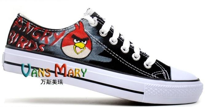 愤怒的小鸟手绘鞋低帮帆布鞋板鞋黑色韩版潮流板鞋