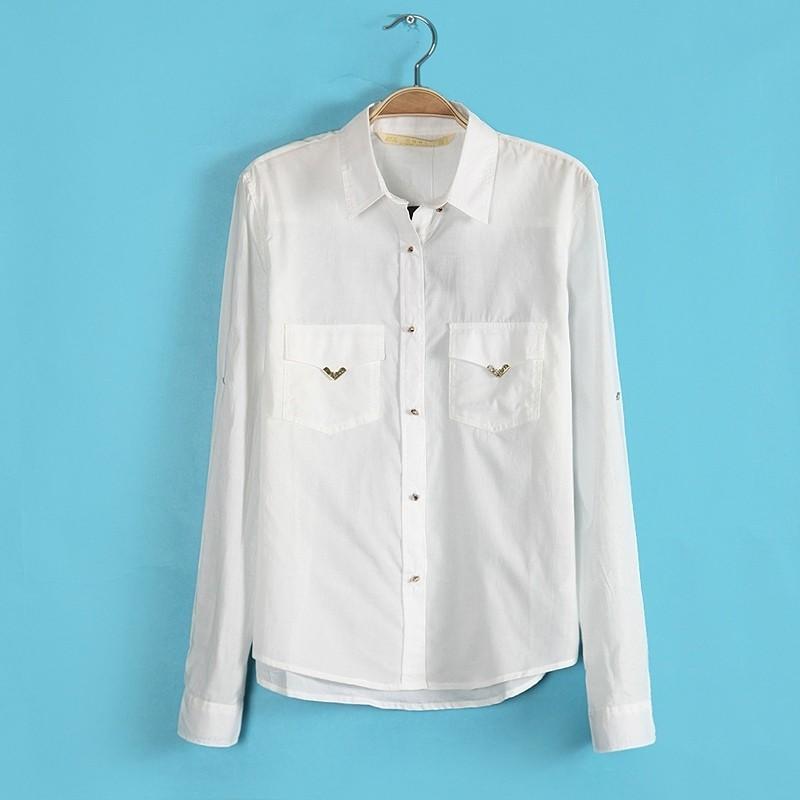 骷髅头纽扣长袖休闲金属包边口袋个性衬衫