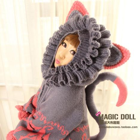 魔法大布娃娃韩国春秋恶魔角针织开衫猫耳朵带帽子