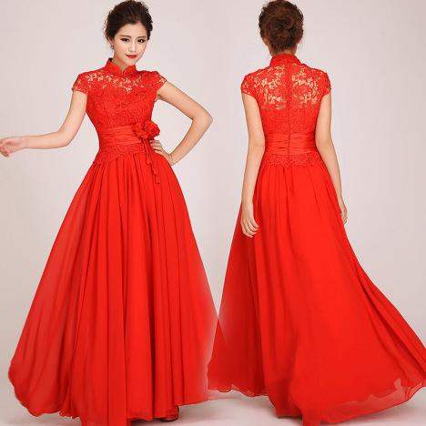 蕾丝旗袍婚纱搭配图片
