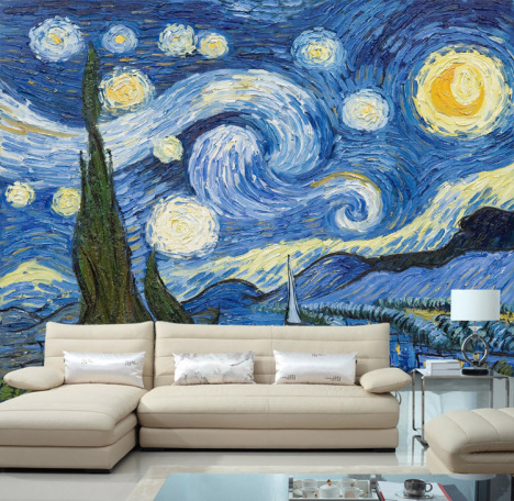 电视沙发背景墙油画梵高星空夜