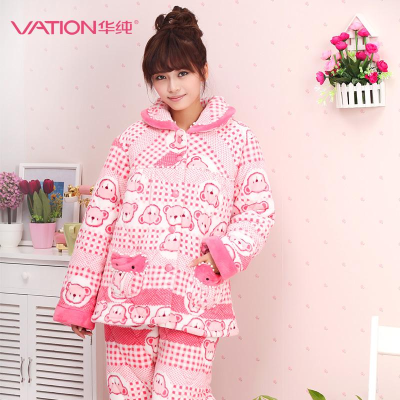 华纯秋冬季女士长袖可爱睡衣