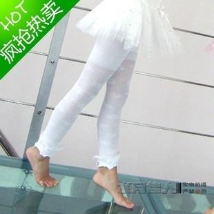 女童夏季薄款白色蕾丝花边提花九分打底裤袜