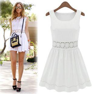 白色无袖a字裙搭配图片