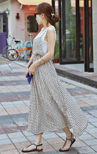 格子吊带长裙搭配图片