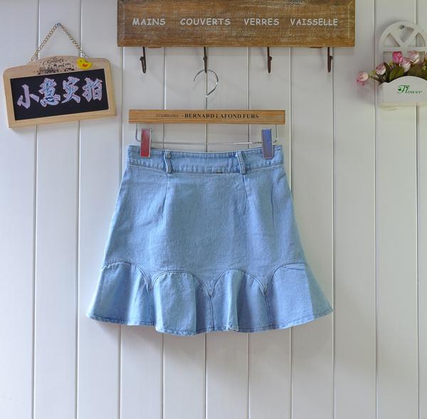 2013夏装vivi复古风拼接波浪荷叶边下摆半身裙牛仔