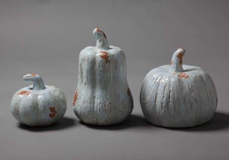 美式乡村美克美家手工泥陶仿古铜蓝色南瓜陶瓷摆件