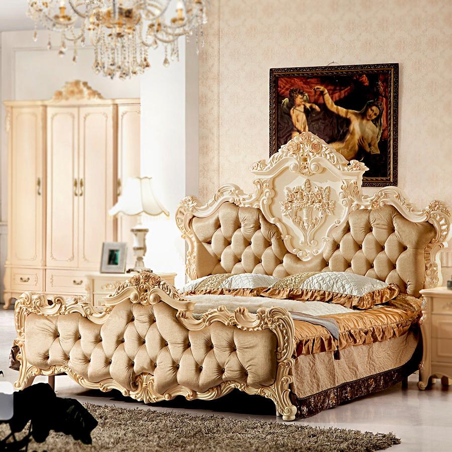实木床单人真皮床 欧式5星级实木床/古典奢华真皮床
