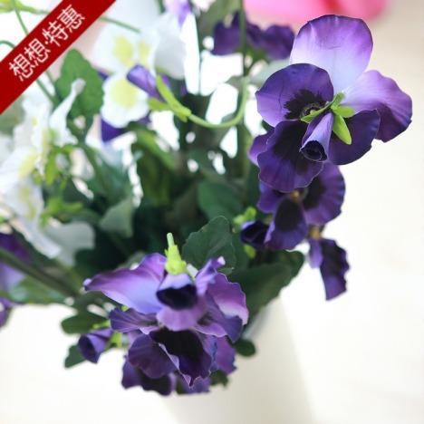 三色堇 花瓶配飾 仿真花束 絹花 人造花假花 落地插花 三色可選