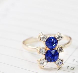 韩版饰品批发超可爱小熊猫镶钻合金水晶戒指