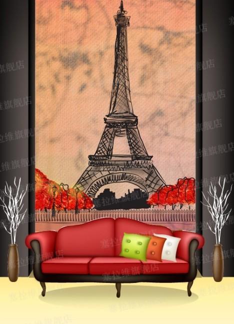 欧洲简修风格|卡通抽象埃菲尔铁塔客厅背景墙|儿童大型壁画