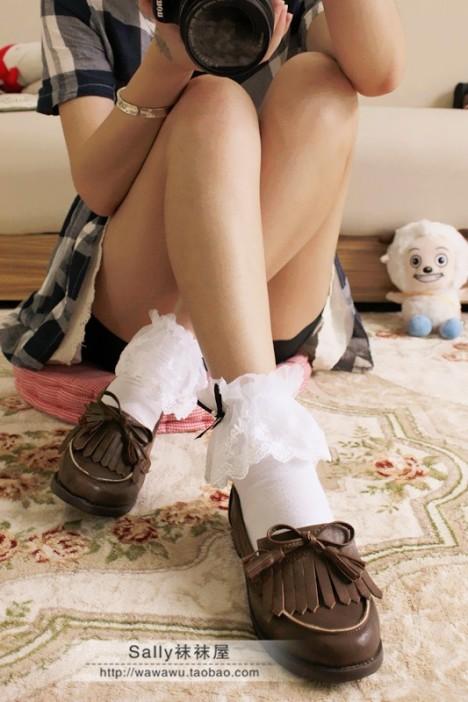 蓬蓬蕾丝花边蝴蝶结棉质堆堆袜~女士短袜