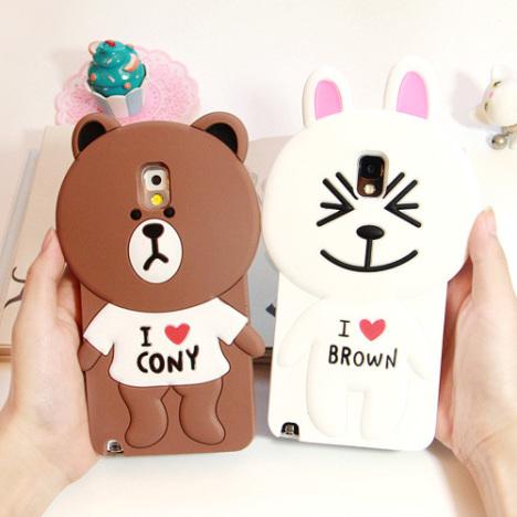 line brown熊和cony兔 韩国三星note3 卡通可爱手机壳 硅胶套n900