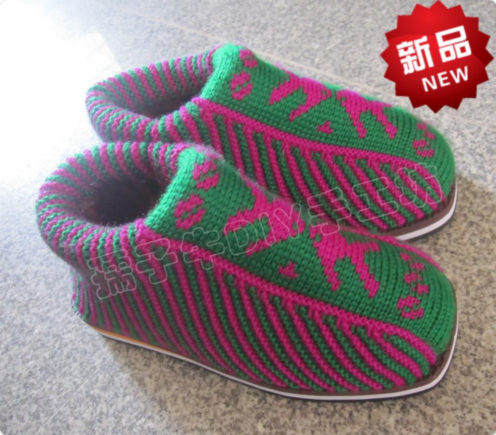 手工棉鞋编织搭配