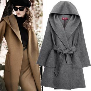 双面羊绒羊毛毛呢大衣连帽欧美风长袖系腰带修身外套