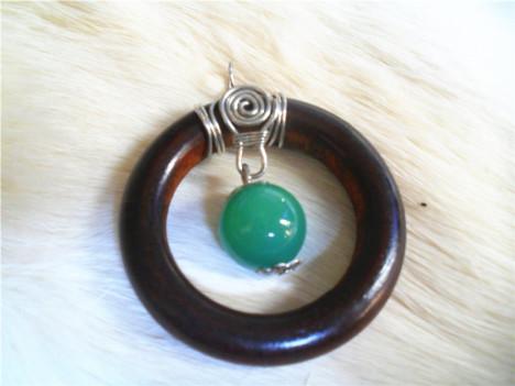 原创手作木质琉璃珠手工绕线吊坠加送牛皮连一条