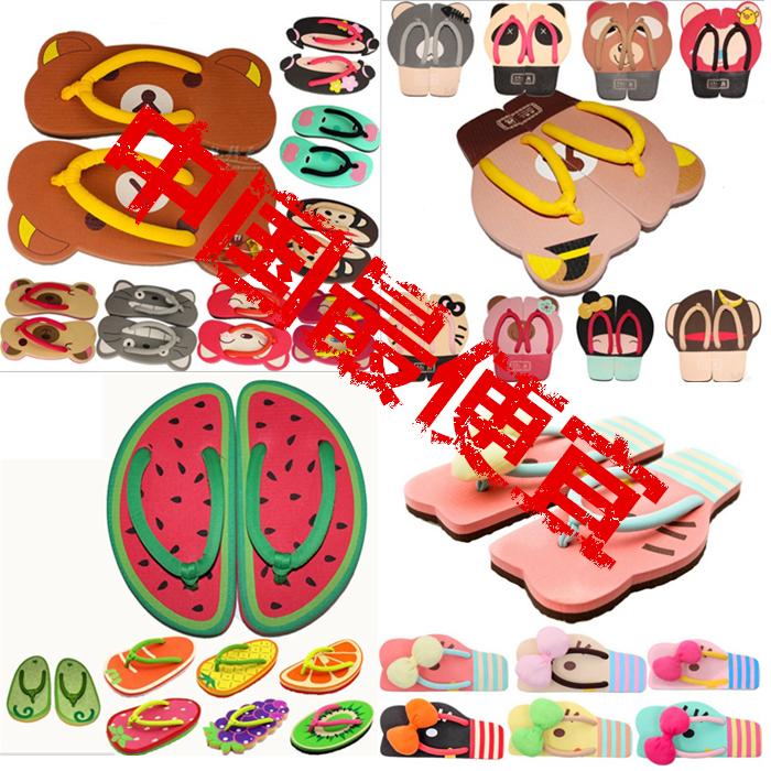 卡通人字女凉拖拖鞋 夏季沙滩批发水果夹脚凉鞋家居可爱阿狸鞋子