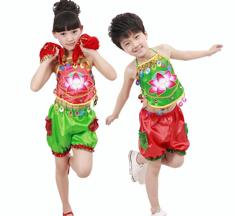 2014六一儿童节演出服男女童民族舞蹈服装 幼儿亮片肚兜表演服装,原价