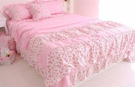 韩版可爱公主床品 床裙床罩式田园碎花100%全棉四件套 -片片飘飞